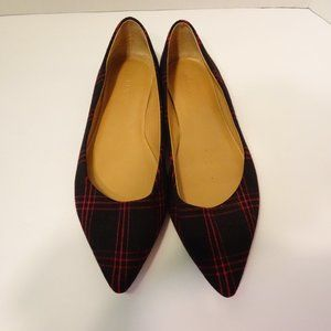 J CREW Black Red Plaid Pointed Toe Flats Shoes